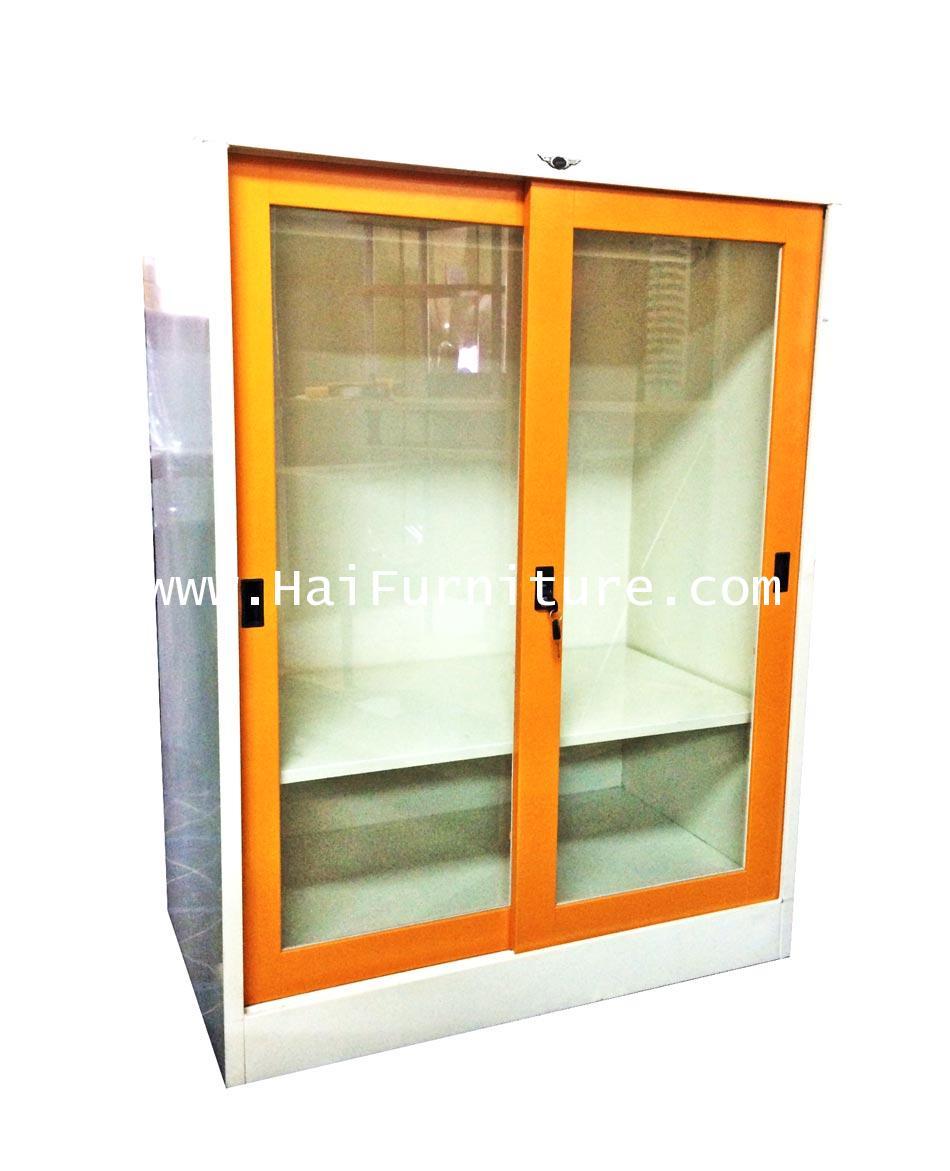 ตู้เสื้อผ้าเหล็ก 3 ฟุตเตี้ย กระจกใส Grade B 91.5*53.5*120 ซม.