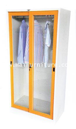 ตู้เสื้อผ้าเหล็กบานเลื่อนกระจกสูง 3 ฟุต WD-SLA3 Elegant  91.4*53.2*183 cm