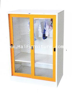 ตู้เสื้อผ้าเหล็กบานเลื่อนกระจกเตี้ย Elegant WD-SLA3MINI 91.4*53.2*130 cm