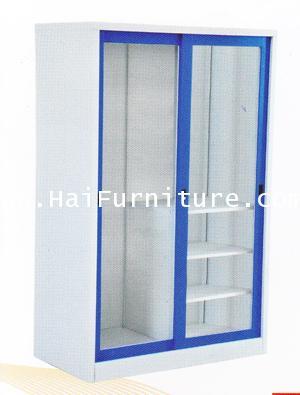 ตู้เสื้อผ้าเหล็กบานเลื่อนกระจก 4 ฟุต WD-SLA4 Elegant 121.8*53.2*183 ซม.