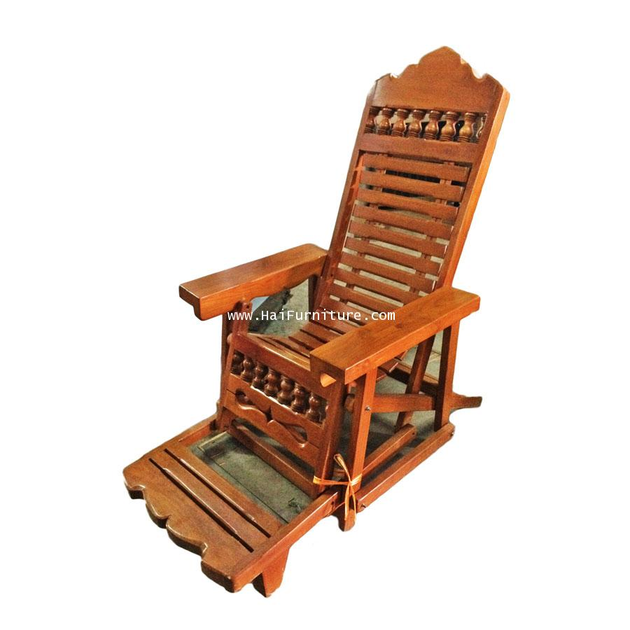 เก้าอี้นอนพับได้ ไม้สัก 77*122*128 ซม.