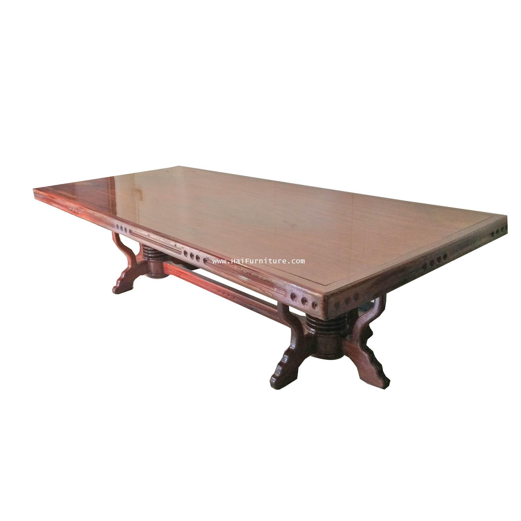 โต๊ะอาหารไม้มะค่า ปี 1980 300*136*75 ซม. ไม้หนา 10 ซม.