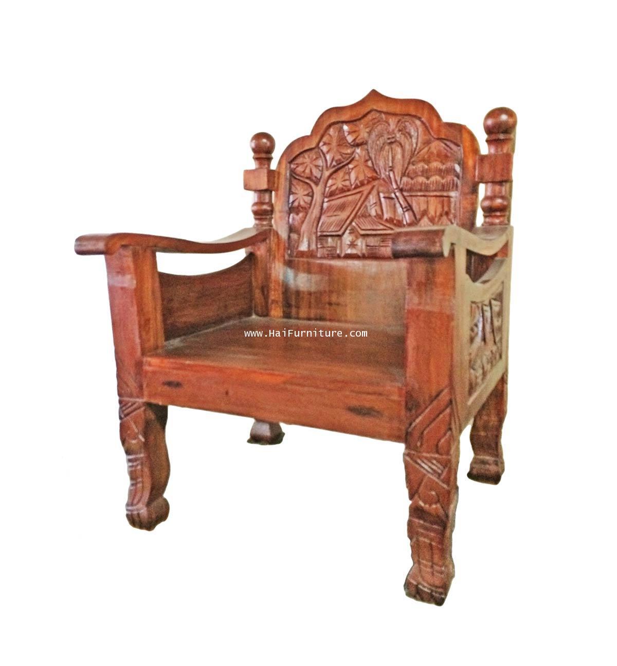 เก้าอี้รับแขกไม้มะค่า แกะสลัก ปี 1970 43*45*85 ซม.