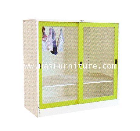 ตู้เสื้อผ้าเหล็กบานเลื่อนกระจกเตี้ย (4ฟุต) WD-SLA4MINI ELEGANT 121.8*53.2*120 ซม.