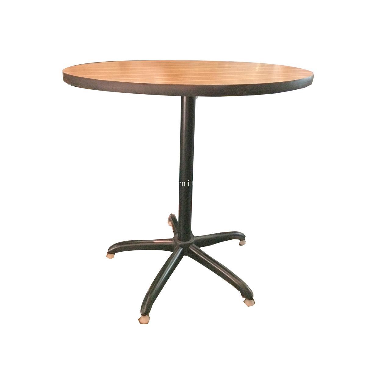 โต๊ะคาเฟ่ ขาเดี่ยว หน้าโฟไมกา ลายไม้ 75*75*75 ซม.