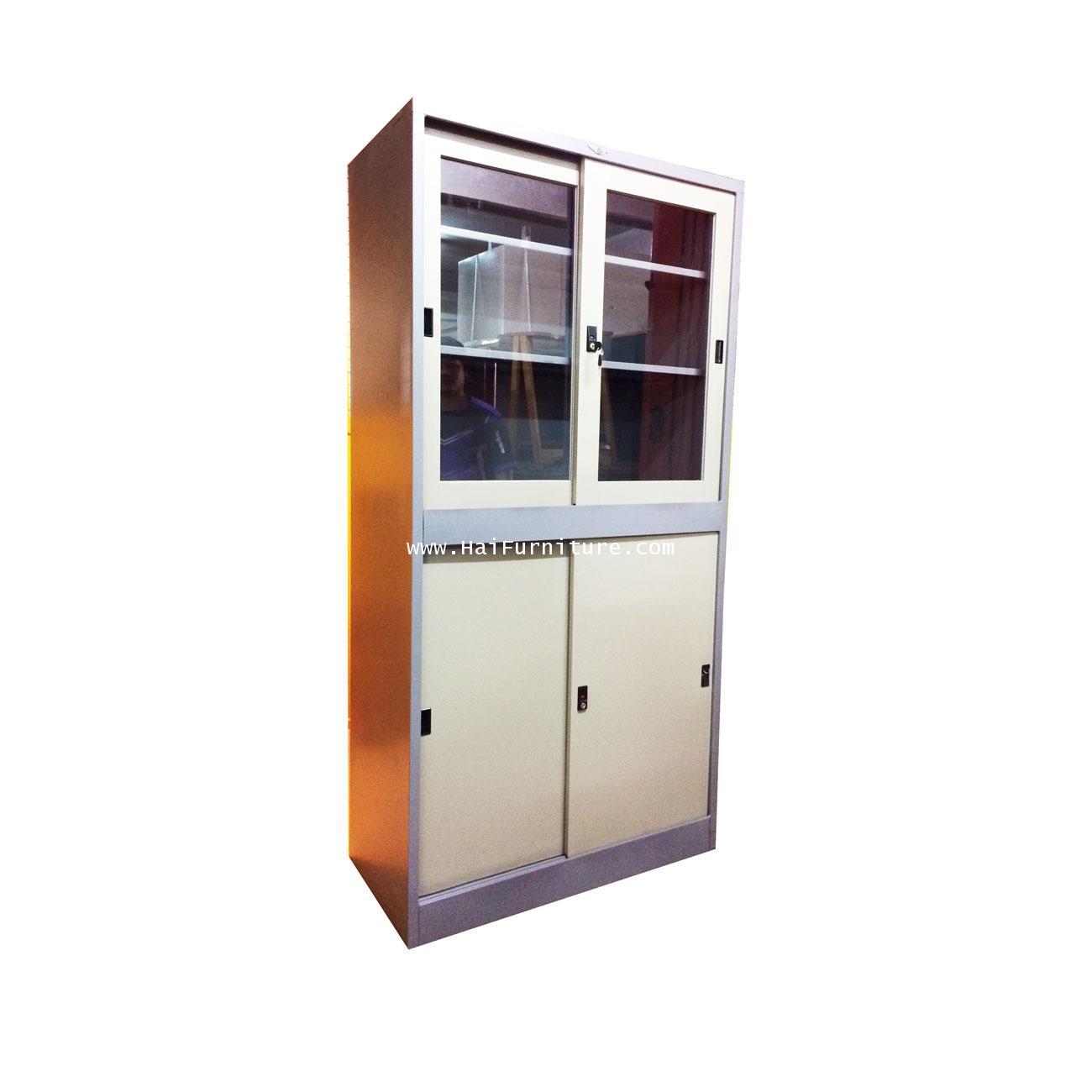 ตู้เก็บเอกสารบานเลื่อน 3 ฟุต บนกระจก ล่างทึบ Elegant SL3FH2 91.4*45.7.183 cm