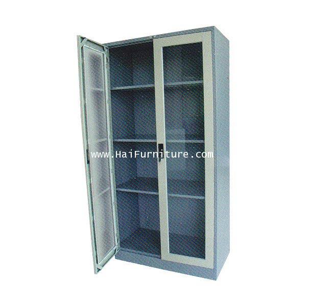 ตู้เก็บเอกสาร 2 บานเปิด (กระจก) Grade B 91.4*45.7*183 cm