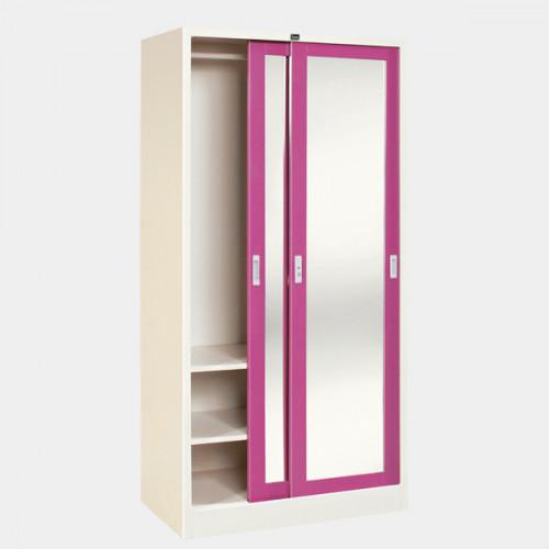 ตู้เสื้อผ้าเหล็กบานเลื่อนกระจกเงา สูง ก91.4*ล53.2*ส183 cm สินค้า GRADE B