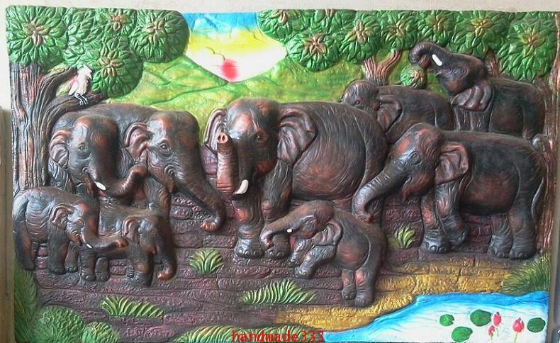 ช้าง 9 เชือก  50x80 ซม.