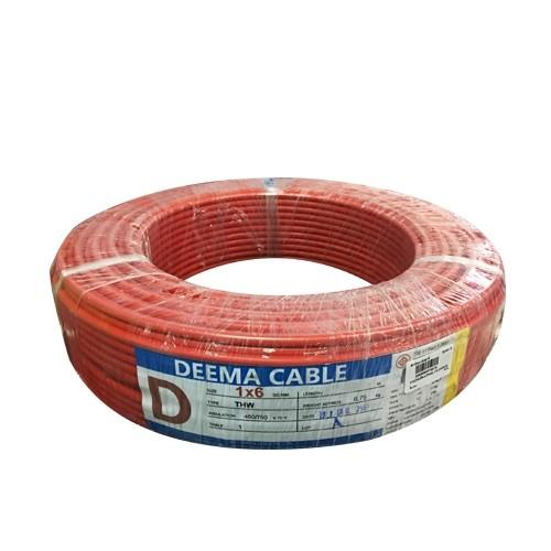 สายไฟเดี่ยว(THW) 1*6 สีแดง DEEMA