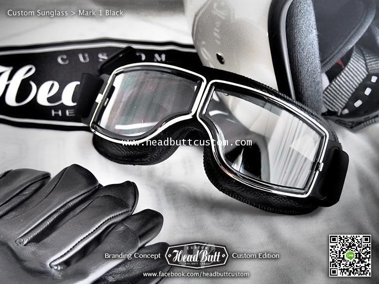 Custom Sunglasses *  Mark 1 หนังดำ เลนส์ ใส