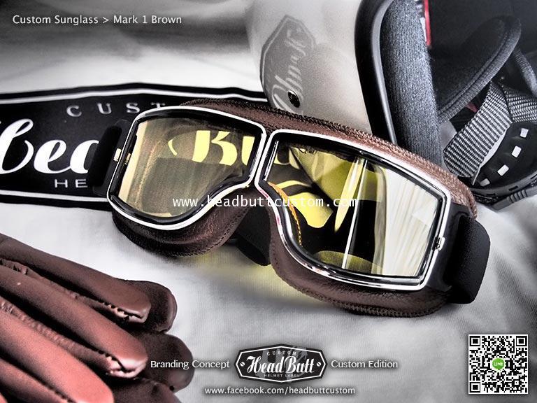 Custom Sunglasses * Mark 1 หนังน้ำตาล เลนส์ เหลือง
