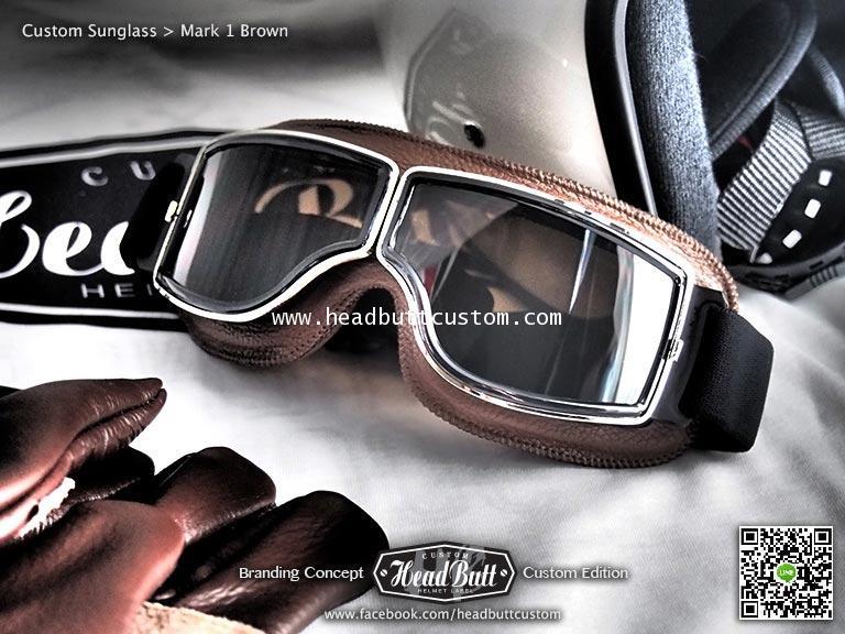 Custom Sunglasses *  Mark 1 หนังน้ำตาล เลนส์ ชา