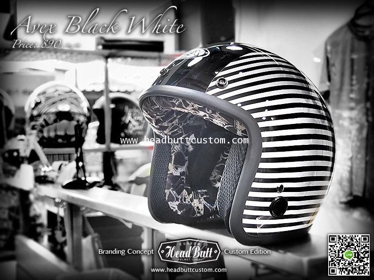 Avex Black  White @ HeadButt Custom Helmet