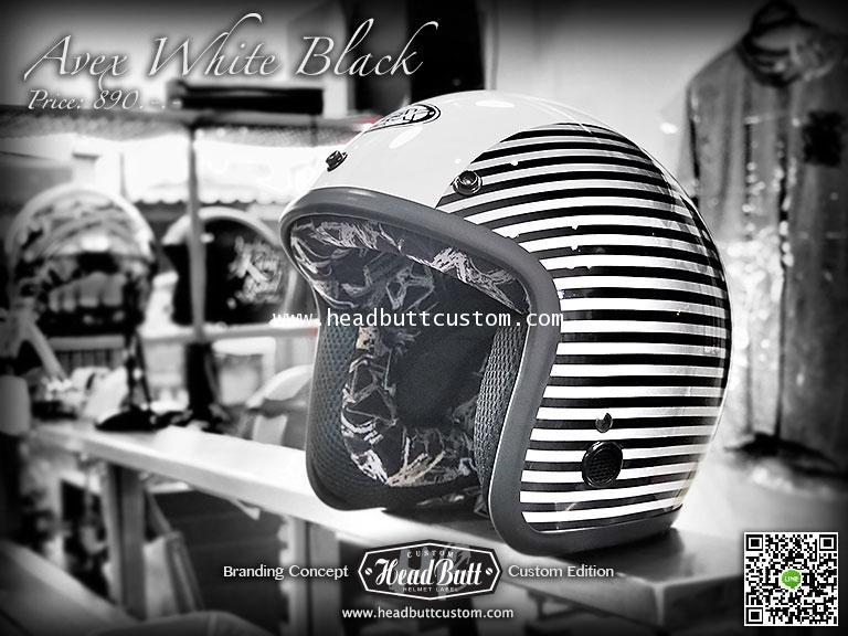 Avex White  Black @ HeadButt Custom Helmet