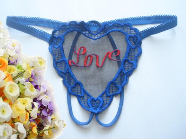 OP-015-BL กางเกงในจีสตริงเปิดเป้ารูปหัวใจ สีน้ำเงิน