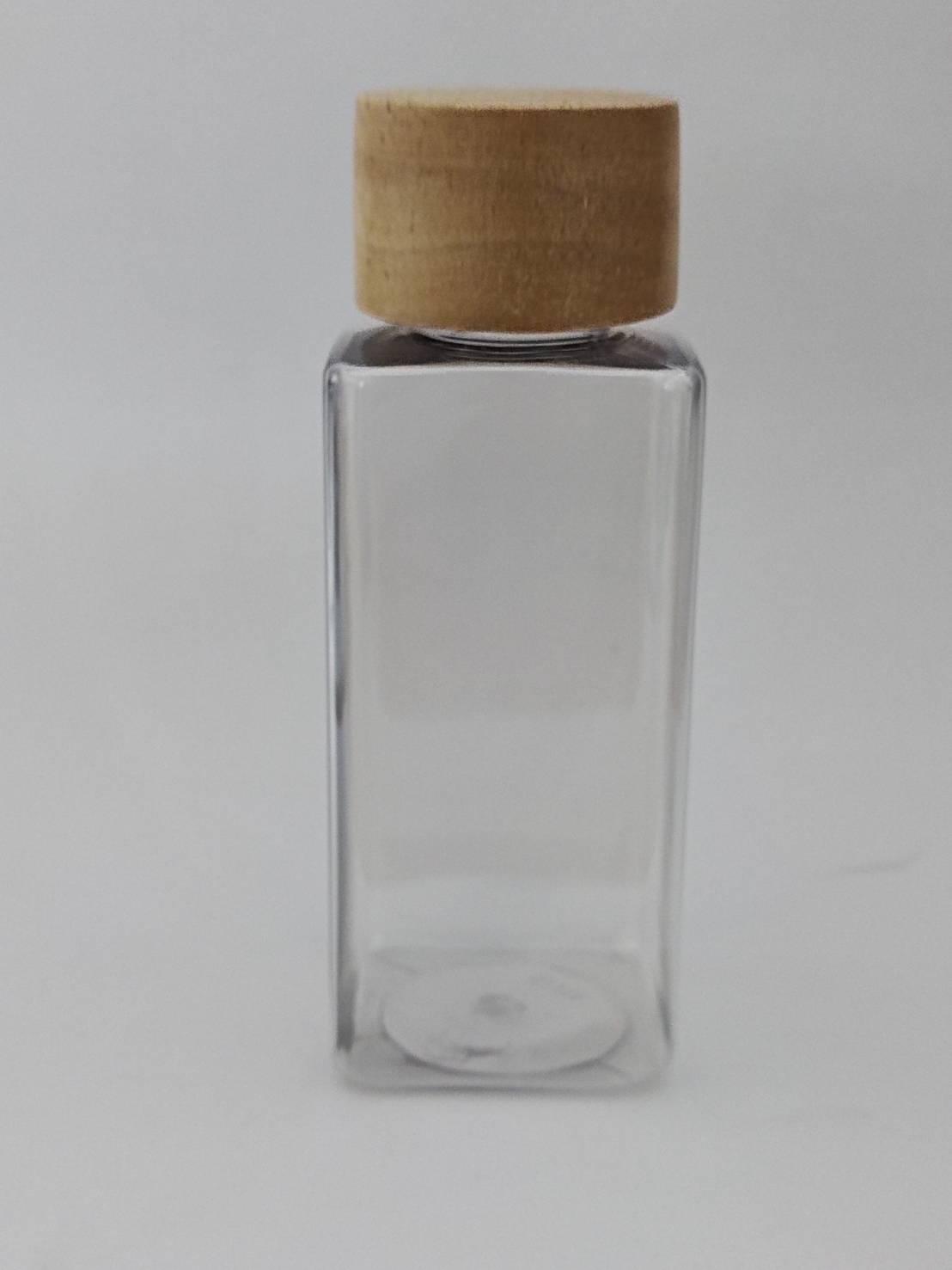 ขวดใสทรงเหลี่ยม +ฝาเกลียวลายไม้  150 ml.
