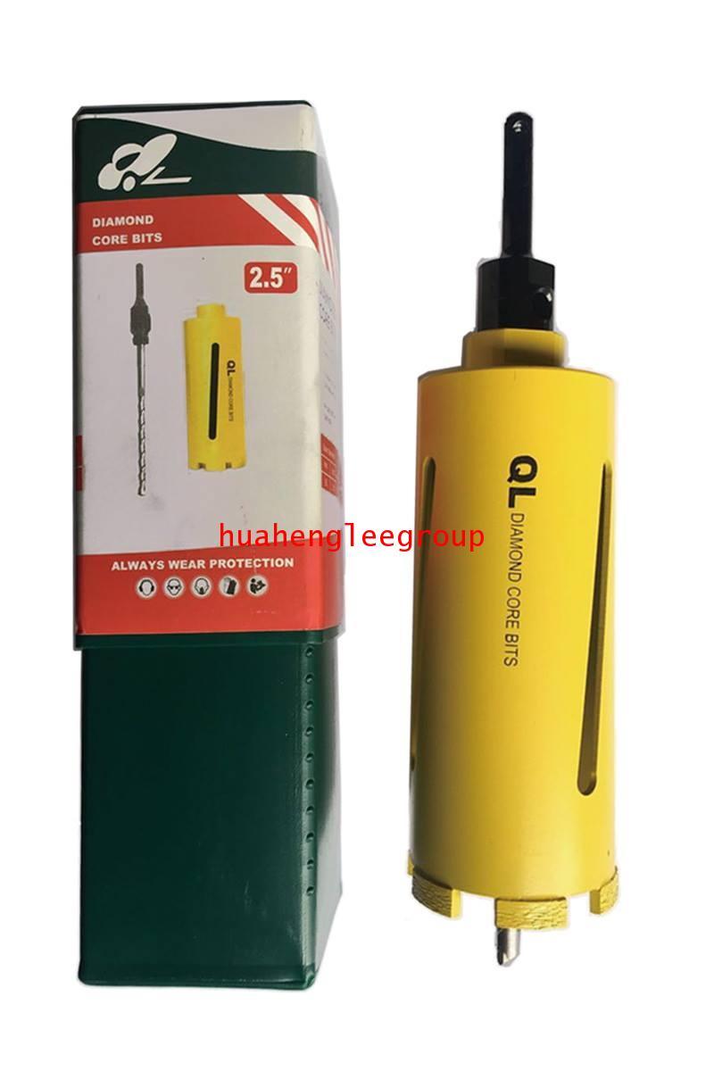 โฮลซอ เจาะปูน หัวเพชร ขนาด 2.5นิ้ว (QL) กล่องเขียว+บอดี้เหลือง