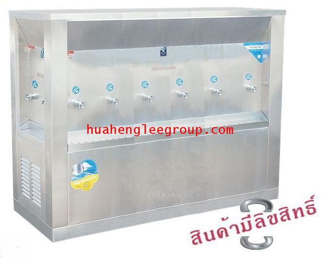 ตู้ทำน้ำเย็น 3 ด้าน สเตนเลส แบบต่อท่อประปา 10 ก๊อก หน้าเว้า (OS-6) \'MAXCOOL\' (ก๊อกหน้า 6 ก๊อก, ก๊อ
