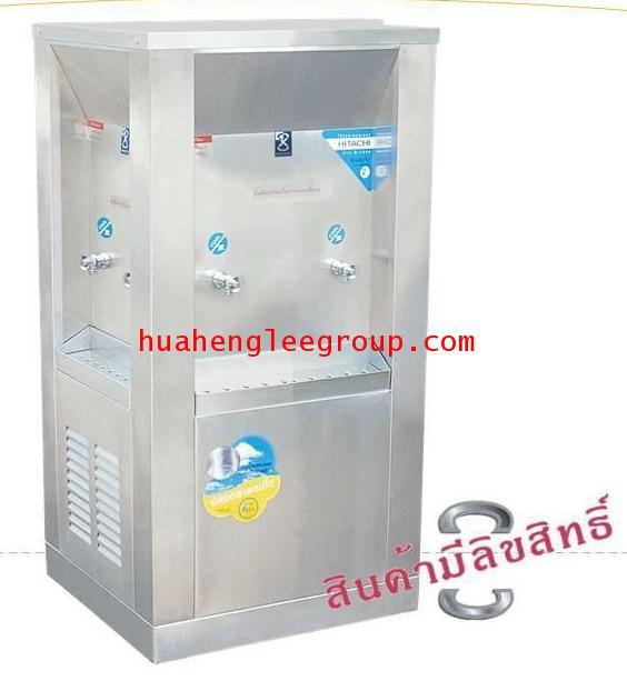 ตู้ทำน้ำเย็น 3 ด้าน สเตนเลส แบบต่อท่อประปา 6ก๊อก หน้าเว้า (OS-2) \'MAXCOOL\' (ก๊อกหน้า 2 ก๊อก, ก๊อกข