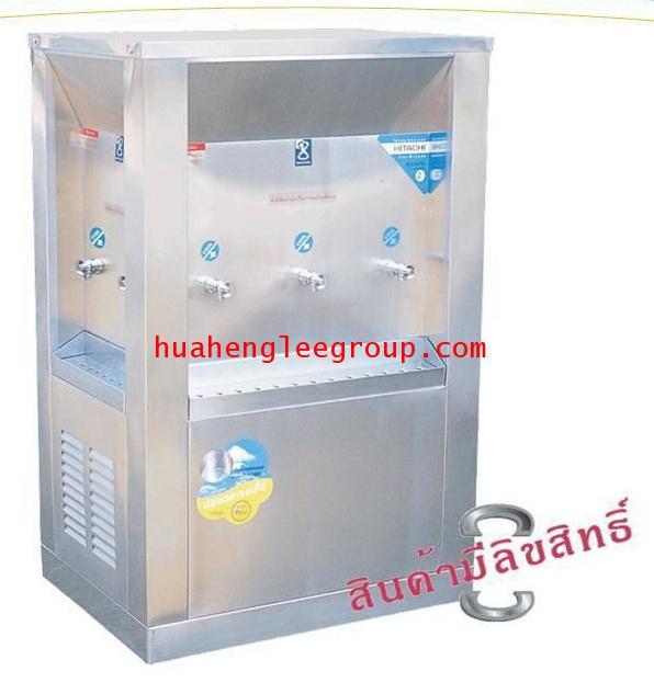 ตู้ทำน้ำเย็น 3 ด้าน สเตนเลส แบบต่อท่อประปา 7ก๊อก หน้าเว้า (OS-3) \'MAXCOOL\'