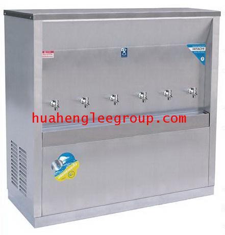 ตู้ทำน้ำเย็น สเตนเลส แบบต่อท่อประปา 6 ก๊อก หน้าเว้า (MC-6P) MAXCOOL