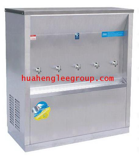 ตู้ทำน้ำเย็น สเตนเลส แบบต่อท่อประปา 5 ก๊อก หน้าเว้า (MC-5P) MAXCOOL