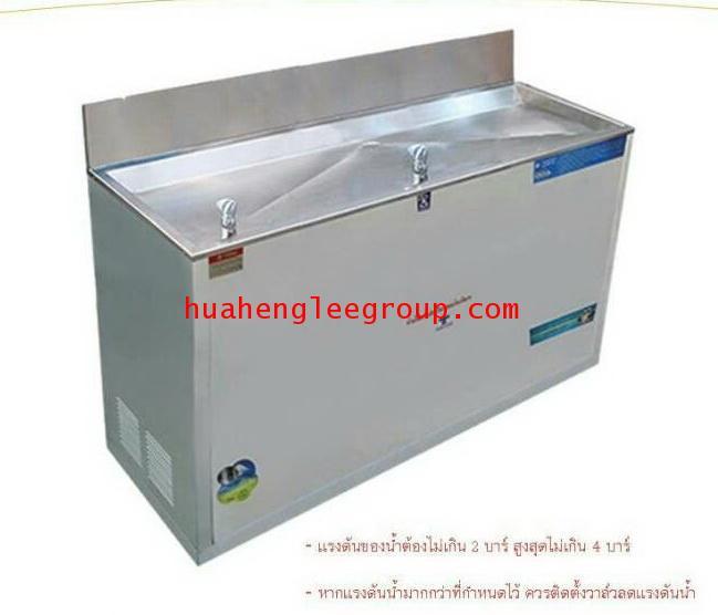 ตู้น้ำเย็นแสตนเลส รุ่นน้ำพุ 2 หัว (มือกด) แบบต่อท่อประปา ยี่ห้อ MAXCOOL รุ่น MC-R2
