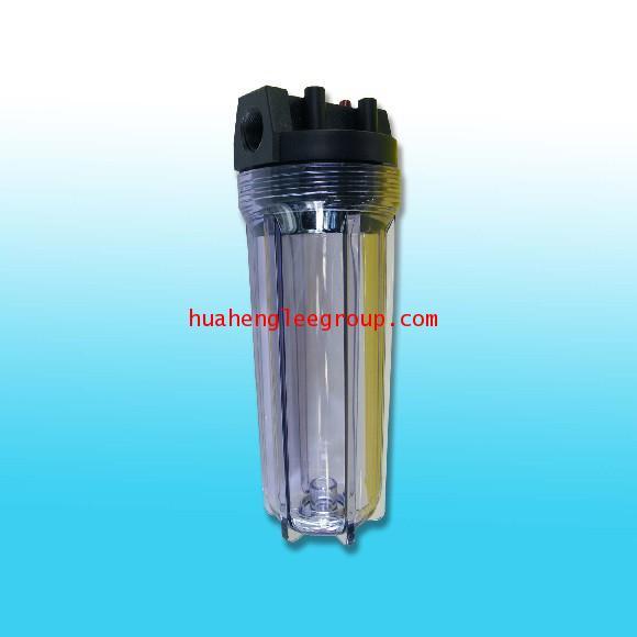 เครื่องกรองน้ำ Housing ท่อเดี่ยว พลาสติกใส 10นิ้ว ท่อน้ำเข้า-ออก 3/4นิ้ว (6หุน)