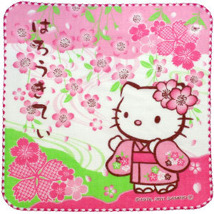 Hello Kitty Cherry Blossom Series Pink  ผ้าเช็ดหน้าเฮลโลคิตตี้ใส่ชุดกิมโมโนสีชมพู ปี 2011