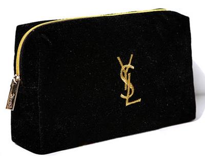 Yves Saint Laurent Black Velvet  Makeup Pouch กระเป๋าใส่เครื่องสำอางผ้ากำมะหยี่สีดำ