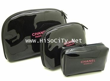 Chanel Cosmetic Cosmetic Bag 3pcs-Set เซ็ทกระเป๋าใส่เครื่องสำอางสีดำสวยหรู 3 ใบ