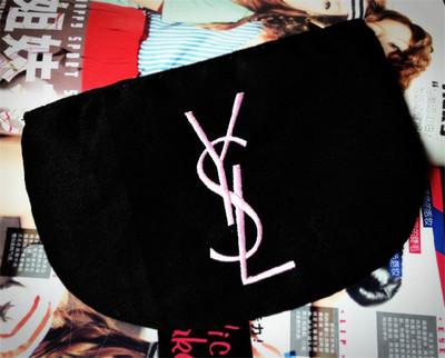 YSL Black Cosmetic Bag  กระเป๋าเครื่องสำอางผ้าสีดำปักโลโก้ชมพู