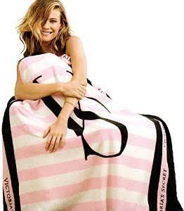 Victoria\'s Secret Square Black  Pink Blanket ผ้าห่มขนหนูเนื้อหนานุ่มสีชมพู