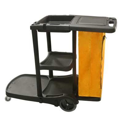 รถเข็นทำความสะอาดแม่บ้าน คันสีดำ ถุงผ้ามีซิป 1401-063
