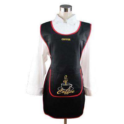 ผ้ากันเปื้อน สีดำ ติดกระดุมด้านข้าง 2 ข้าง 1609-022