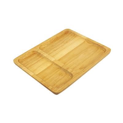 ถาดหลุม 2 ช่่อง ไม้ยางพารา สีเหลี่ยมผืนผ้า  7.5 x 9.5 นิ้ว  WOOD-036