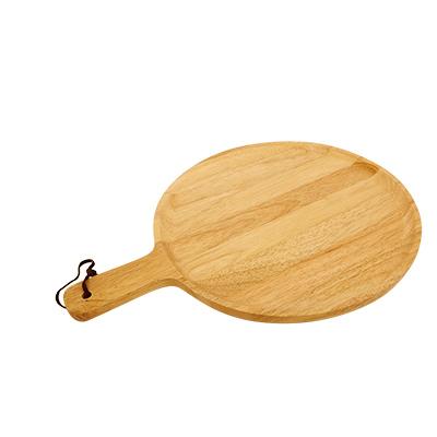 ถาดพิซซ่าไม้ยางพารา 12 นิ้ว มีด้ามจับ  WOOD-014