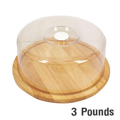 ถาดไม้ใส่เค้ก 3 ปอนด์ มีฝาครอบ WOOD-059