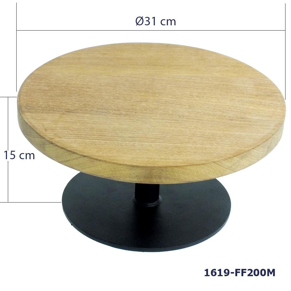 ขาตั้งที่วางเค้กฐานเหล็กและแผ่นไม้สัก 31 ซม.  สูง  15 ซม. 1619-FF200M