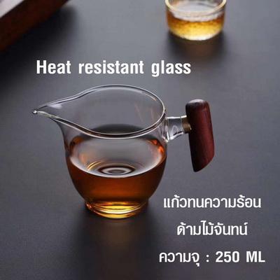 แก้วทนความร้อนด้ามไม้จันทน์ แก้วชงชา แก้วดริป สไตล์ญี่ปุ่น 250 ml. 1610-675-1