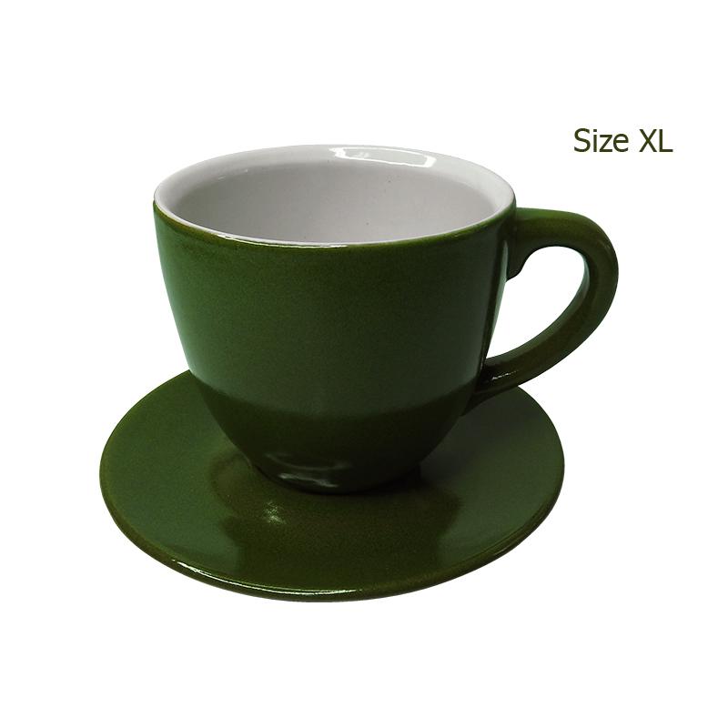 ถ้วยกาแฟ 330 CC. (Size XL) ถ้วยกาแฟสีเขียวใบไม้ พร้อมจานรอง  1618-068