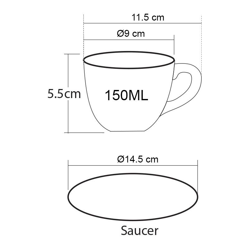 ถ้วยกาแฟ 150 ML. (Size M) ถ้วยกาแฟดำ-ขาวข้างใน พร้อมจานรอง 1618-069 1
