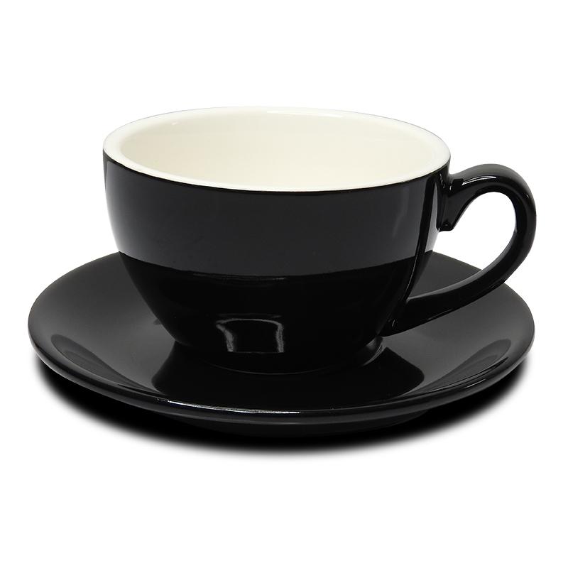 ถ้วยคาปูซิโน่ 200 ML. (Size L) ถ้วยกาแฟดำ-ขาวข้างใน พร้อมจานรอง 1618-070