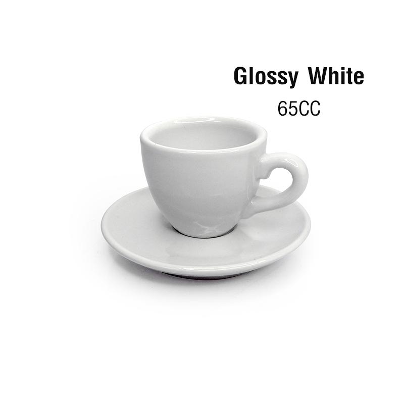 ถ้วยเอสเปรสโซ่ 65 CC.(Size S) สีขาวเงา พร้อมจานรอง 1618-072