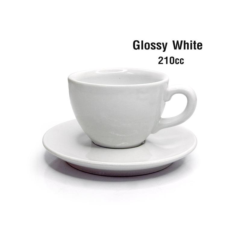 แก้วกาแฟ  210 cc(L) พร้อมจานรอง สีขาวเงา 1618-074