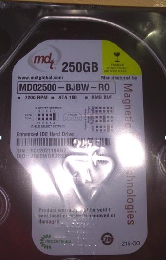 New Hard Disk MDT 250GB ATA-100 3.5 IDE 7200 RPM