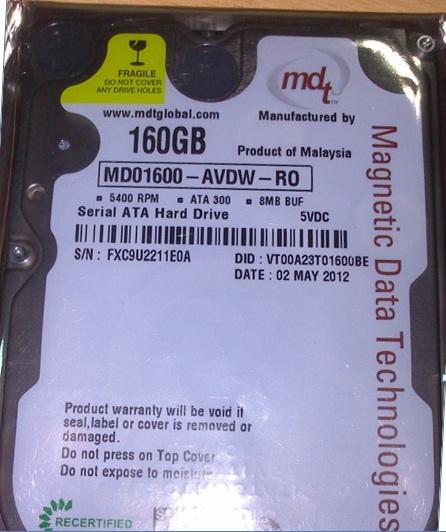 New MDT 160GB  2.5 SATA 5400 RPM 8MB.