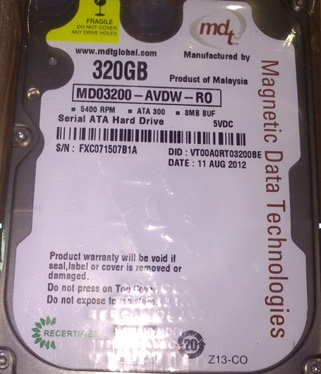 New MDT 320GB  2.5 SATA 5400 RPM 8MB.