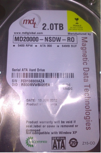 New MDT 2TB 3.5 SATA 5400 RPM